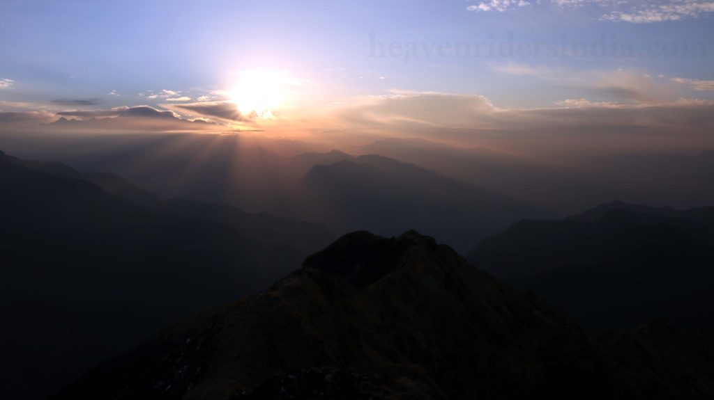Sun rising view from Chandrashila Summit