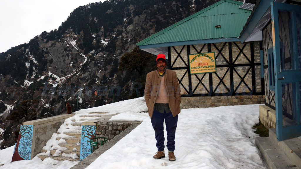Baisakhi Ram, care taker of Forest Department Guest House, Triund