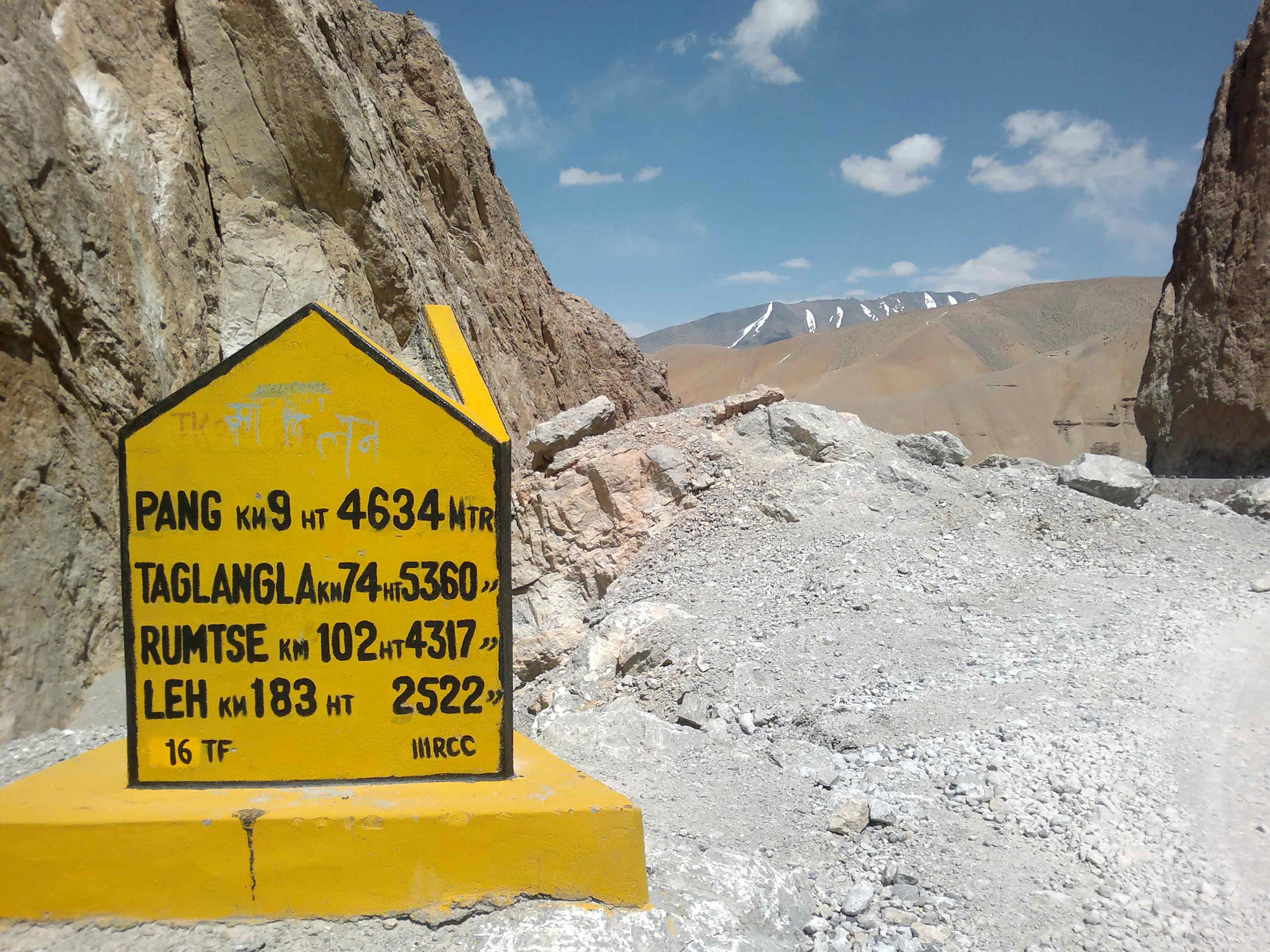 Signboard made by BRO on Manali-Leh Highway, Roadtrip to Leh-Ladakh with Heaven Riders India