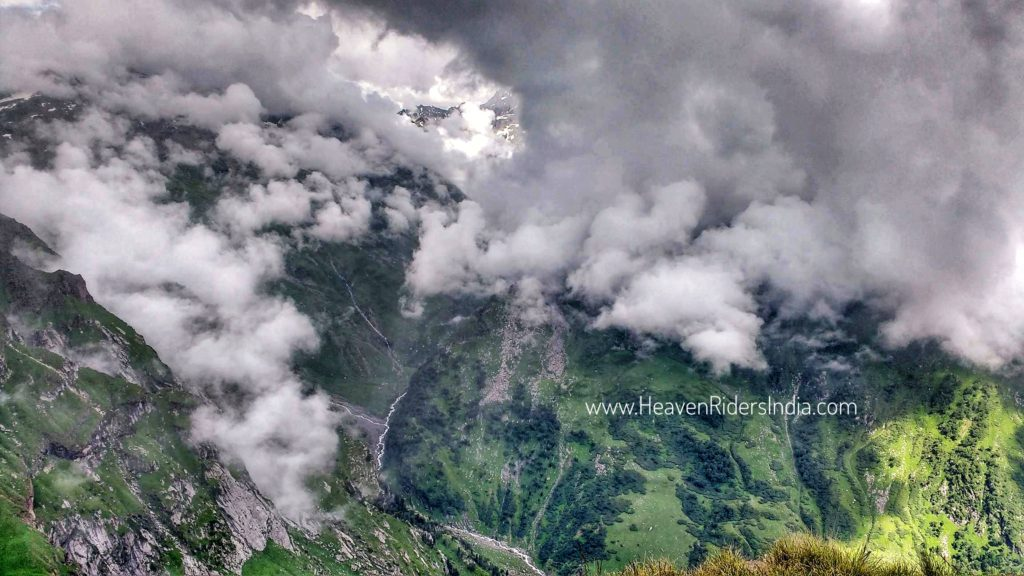 Clouds over mountains - Bhrigu Lake Trek with Heaven Riders India